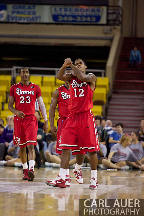 November 27th, 2010:  Anchorage, Alaska - St. John's Dwight Hardy (12) celebrates in the Championship game of the Great Alaska Shootout.  The Red Storm would go on to beat the Arizona State Sun Devil's 67-58 to capture their first Shootout championship.