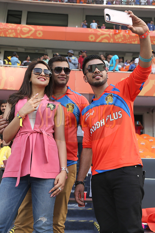 Keshav Bansal Owner of Gujarat Lions with Avi Malik and Musskan Sethi during match 6 of the Vivo 2017 Indian Premier League between the Sunrisers Hyderabad and the Gujarat Lions held at the Rajiv Gandhi International Cricket Stadium in Hyderabad, India on the 9th April 2017<br /> <br /> Photo by Faheem Hussain - IPL - Sportzpics