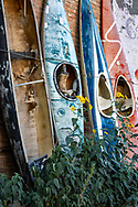 Salida, Colorado, vintage kayaks, alley,