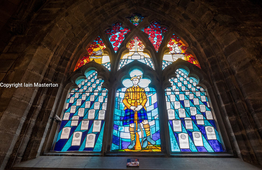 Detail of modern stained glass Guildry Window to commemorate Argyll and Sutherland Highlanders who were killed in Great War 1914-1917 at Holy Rude Church in Stirling, Scotland ,UK