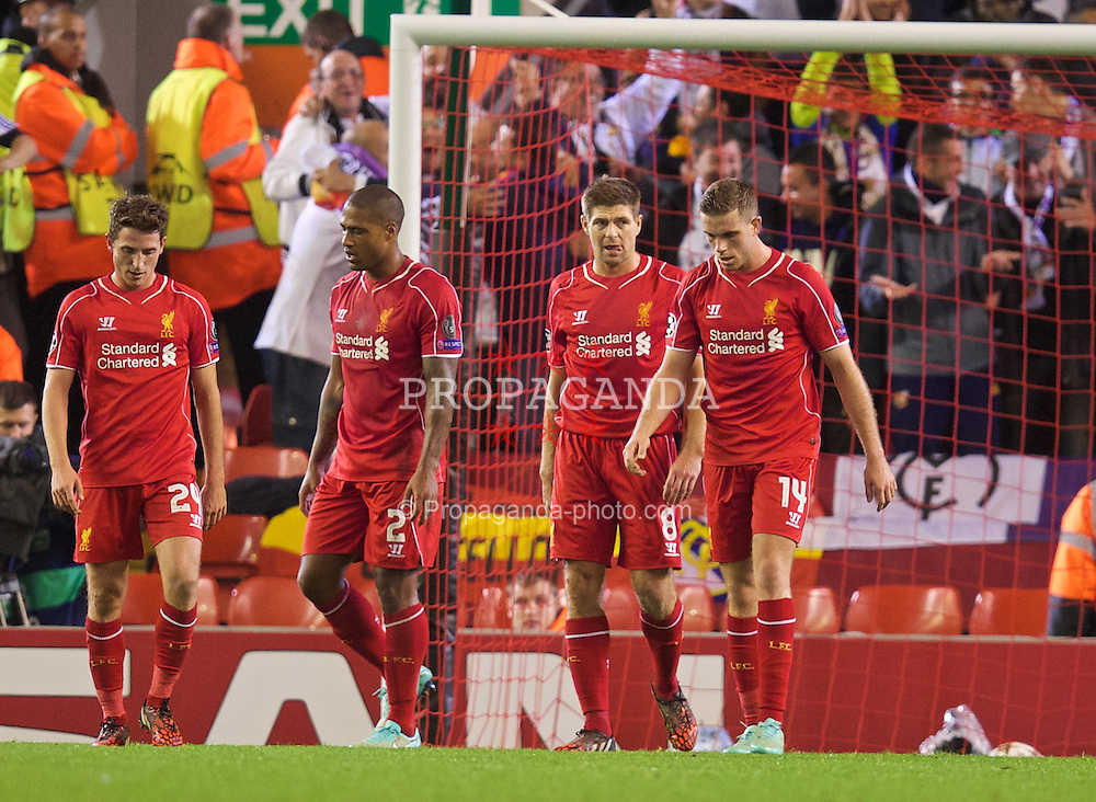 LIVERPOOL, ENGLAND - Wednesday, October 22, 2014: Liverpool's captain Steven Gerrard looks dejected as Real Madrid CF score the third goal during the UEFA Champions League Group B match at Anfield. (Pic by David Rawcliffe/Propaganda)