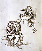Old man playing with a small child, 1635-1640.  Rembrandt Harmenszoon van Rijn (1606-1669) Dutch painter and etcher. Youth Age Walking Stick