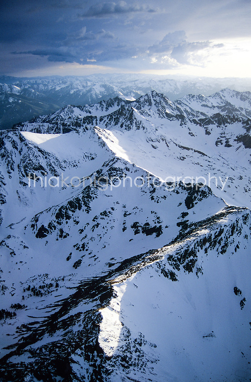 Arial view of snowcapped peaks, Idaho backcountry