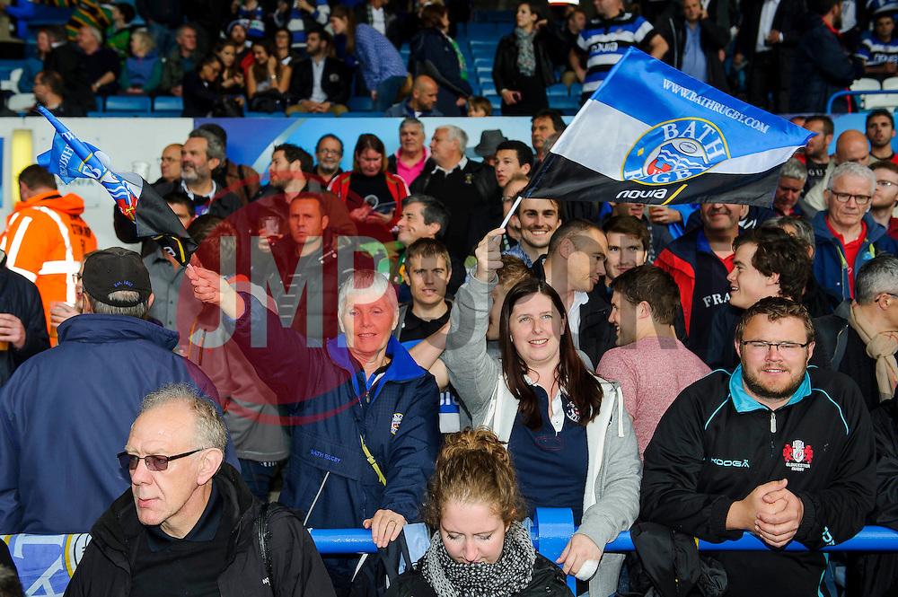 Bath fans take their seats ahead of kick off - mandatory by-line: Rogan Thomson/JMP - Tel: 07966 386802 - 23/05/2014 - SPORT - RUGBY UNION - Cardiff Arms Park, Wales - Bath Rugby v Northampton Saints - Amlin Challenge Cup Final.