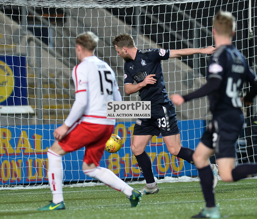 Rory Loy (Falkirk) scores Falkirk's second goal during the Scottish Championship match between Falkirk and Brechin City at the Falkirk Stadium.<br /> <br /> <br /> (c) Dave Johnston | SportPix.org.uk
