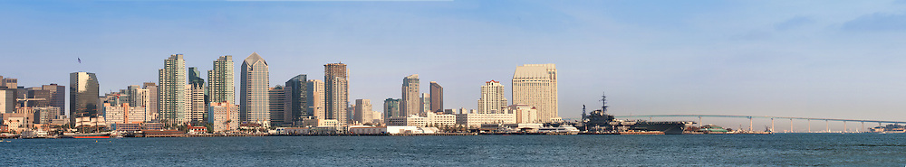 Downtown San Diego looking across the bay during daytime from Harbor Island