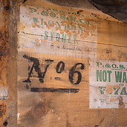 Shackleton's Hut #6, Cape Royds, Antarctica, Shackleton's signature on packing crate.