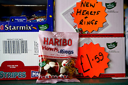 UK ENGLAND BERKSHIRE UPPER BUCKLEBURY 22MAR11 - New Hearts and Rings Haribo wedding edition sweets are on display exclusively at the Peaches store in Upper Bucklebury, Berkshire, England. Out of fifty boxes delivered to the store, more than 26 have already been sold since the Royal Wedding was announced...jre/Photo by Jiri Rezac..© Jiri Rezac 2011