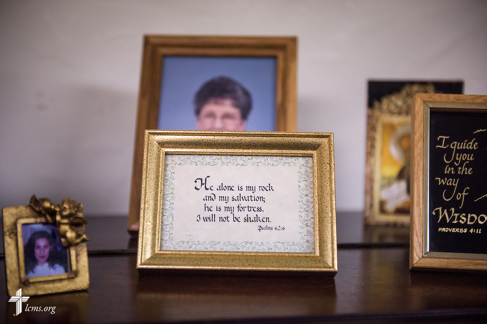 A framed Bible verse from Psalms 62:6 at First Trinity Evangelical–Lutheran Church on Sunday, Nov. 20, 2016, in Pittsburgh. LCMS Communications/Erik M. Lunsford