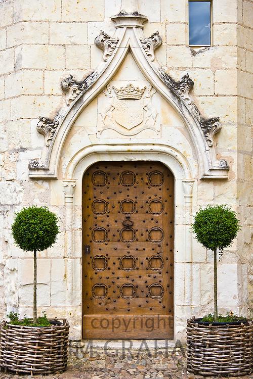Ornate doorway at Renaissance 15th Century Chateau du Rivau, Chateaux of the Loire, Loire Valley, France