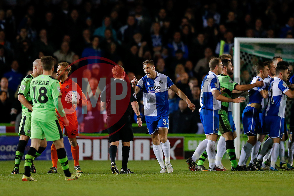 Lee Brown of Bristol Rovers and referee Lee Swabey - Photo mandatory by-line: Rogan Thomson/JMP - 07966 386802 - 29/04/2015 - SPORT - FOOTBALL - Nailsworth, England - The New Lawn - Forest Green Rovers v Bristol Rovers - Vanarama Conference Premier - Playoff Semi Final 1st Leg.