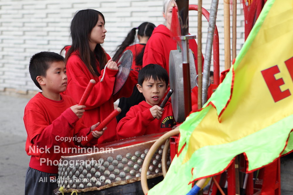 ROSEMEAD, CALIFORNIA, USA -FEBRUARY 10, 2013: Chinese New Year festivities in Rosemead California. Many of the activities are provided by local Kung Fu clubs whose members wear the elaborate Chinese dragon costumes.