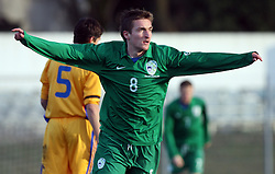 Armin Bacinovic (8)  of Slovenia celebrates first goal during Friendly match between U-21 National teams of Slovenia and Romania, on February 11, 2009, in Nova Gorica, Slovenia. (Photo by Vid Ponikvar / Sportida)