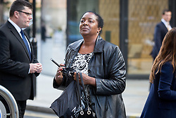 © Licensed to London News Pictures. 04/10/2016. London, UK. Ava Blake, sister of murdered Eastenders actress Sian Blake, arrives at the Old Bailey to hear the sentencing of Arthur Simpson-Kent, who has admitted murdering former Eastenders actress Sian Blake and their two children aged eight and four. Photo credit : Tom Nicholson/LNP