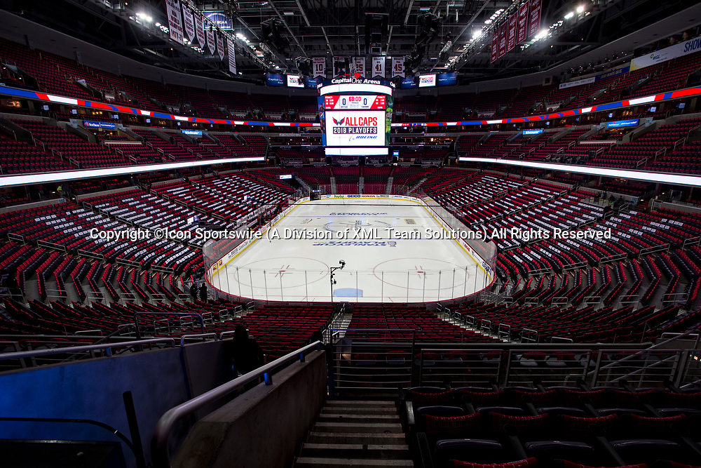 WASHINGTON, DC - MAY 21: Rink before game 6 of the NHL Eastern Conference  Finals between the Washington Capitals and the Tampa Bay Lightning, on May 21, 2018, at Capital One Arena, in Washington D.C.<br /> (Photo by Tony Quinn/Icon Sportswire)