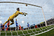 Leyton Orient's David Mooney's speculative shot from outside the box is saved by Gillingham's 'keeper Tomas Holy during the The FA Cup match between Gillingham and Leyton Orient at the MEMS Priestfield Stadium, Gillingham, England on 4 November 2017. Photo by John Marsh.