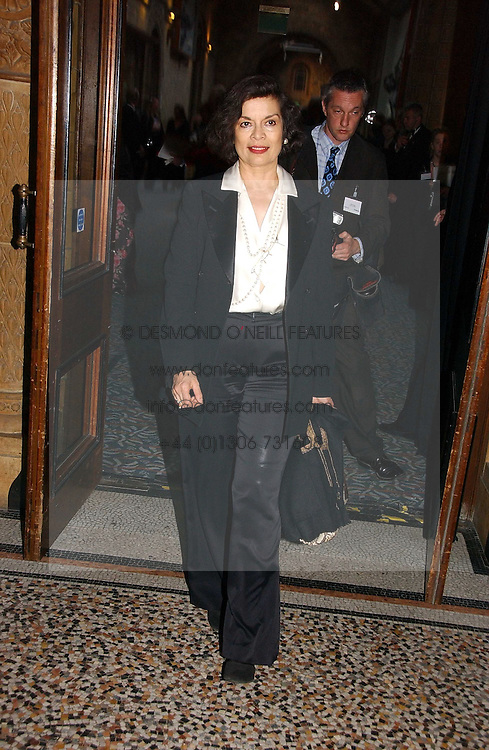 BIANCA JAGGER at a gala dinner in the presence of HM Quenn Silvia of Sweden and HM Queen Noor of Jordan in aid of the charity Mentor held at the Natural History Museum, Cromwell Road, London on 23rd May 2006.<br />
