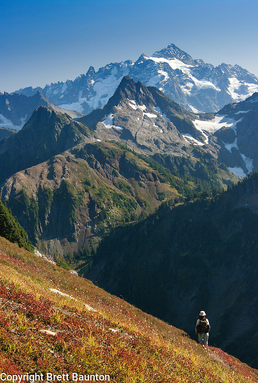 Mt. Shuksan, North Cascades; WA; High Pass, Hiker