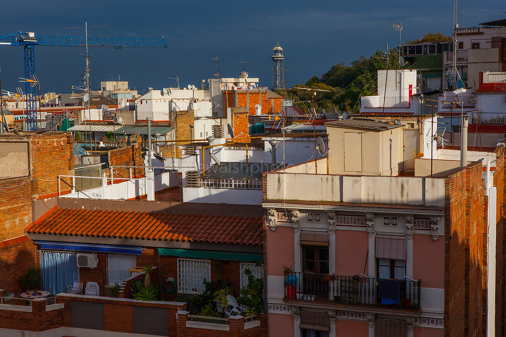 View over Poble Sec rooftops, Barcelona, Catalonia, Spain