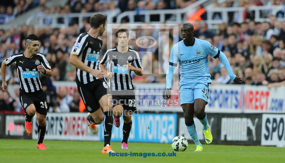 Yaya Toure (right) of Manchester City during the Barclays Premier League match at St. James's Park, Newcastle<br /> Picture by Simon Moore/Focus Images Ltd 07807 671782<br /> 17/08/2014