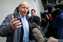© Licensed to London News Pictures. 06/03/2016. London, UK. Mayor of London BORIS JOHNSON leaving BBC Broadcasting House in London after appearing on The Andrew Marr show on BBC One on Sunday, 6 March 2016. Photo credit: Tolga Akmen/LNP