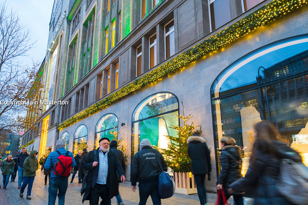Busy street outside famous KaDeWe department store at Christmas in Berlin, Germany