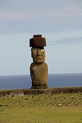 Chile, Easter Island: Statue or moai on a platform or ahu called Ahu Tahai, near the town of Hanga Roa..Photo #: ch213-33097..Photo copyright Lee Foster www.fostertravel.com lee@fostertravel.com 510-549-2202