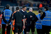 Shrewsbury Town manager Sam Ricketts talks to the referee after the EFL Sky Bet League 1 match between Peterborough United and Shrewsbury Town at London Road, Peterborough, England on 23 February 2019.