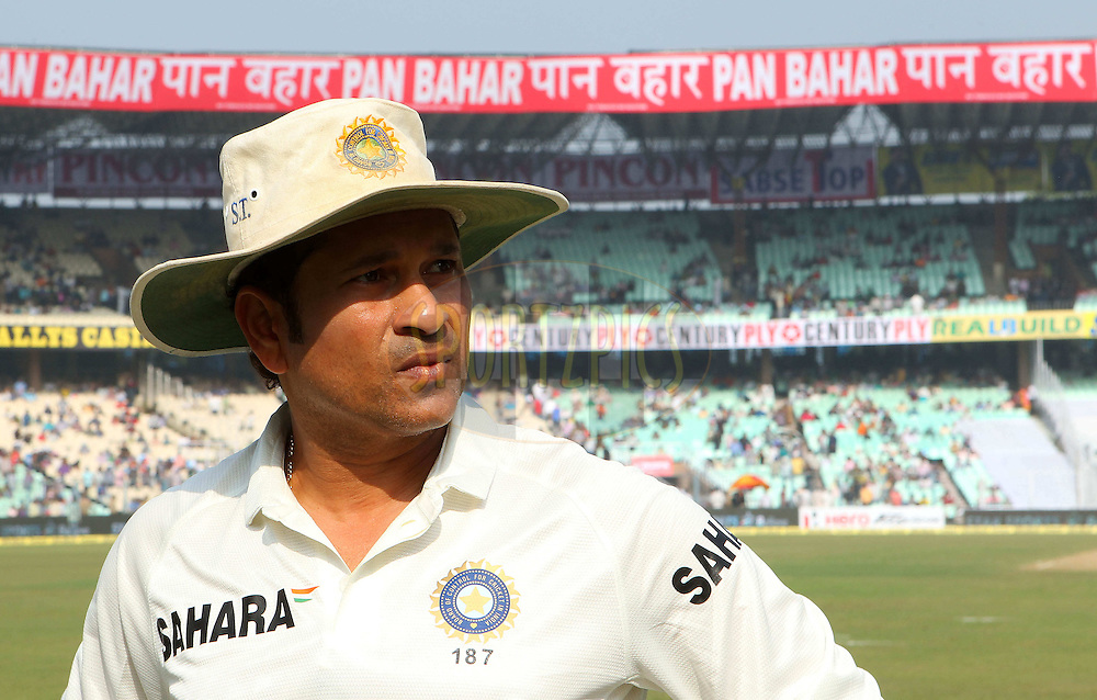 Sachin Tendulkar prior to the start during day one of the first test match between India and The West Indies held at The Eden Gardens Stadium in Kolkata, India on the 6th November 2013<br /> <br /> Photo by: Ron Gaunt - BCCI - SPORTZPICS