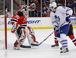 Jan 29, 2010; Newark, NJ, USA; New Jersey Devils goalie Martin Brodeur (30) makes a save during the first period at the Prudential Center.