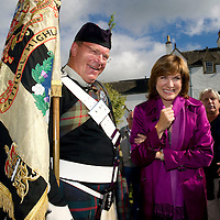 BBC Anitques Roadshow filming at Blair Castle, Blair Atholl, Perthshire...09.09.10<br /> Presenter Fiona Bruce pictured during filming at the castle today with Atholl Highlander Company Sergeant Major Graham Jack from Coupar Angus. The Atholl Highlanders are a private army raised to protect the Duke of Atholl.<br /> Picture by Graeme Hart.<br /> Copyright Perthshire Picture Agency<br /> Tel: 01738 623350  Mobile: 07990 594431