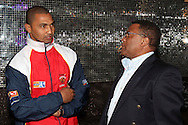 Alviro Petersen chats with Gerald Majola during the official launch press conference and party for the Airtel Champions League T20 tournament (being held in South Africa in September 2010) held at Taboo nightclub in Sandton, Johannesburg on the 10 August 2010..Photo by..CLT20 / SPORTZPICS