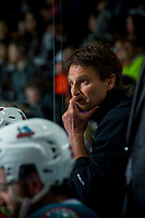 KELOWNA, CANADA - APRIL 26: Kelowna Rockets' athletic therapist Scott Hoyer stands on the bench against the Seattle Thunderbirds on April 26, 2017 at Prospera Place in Kelowna, British Columbia, Canada.  (Photo by Marissa Baecker/Shoot the Breeze)  *** Local Caption ***