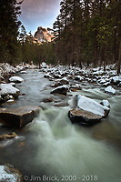 The Merced River after a light snowfall.