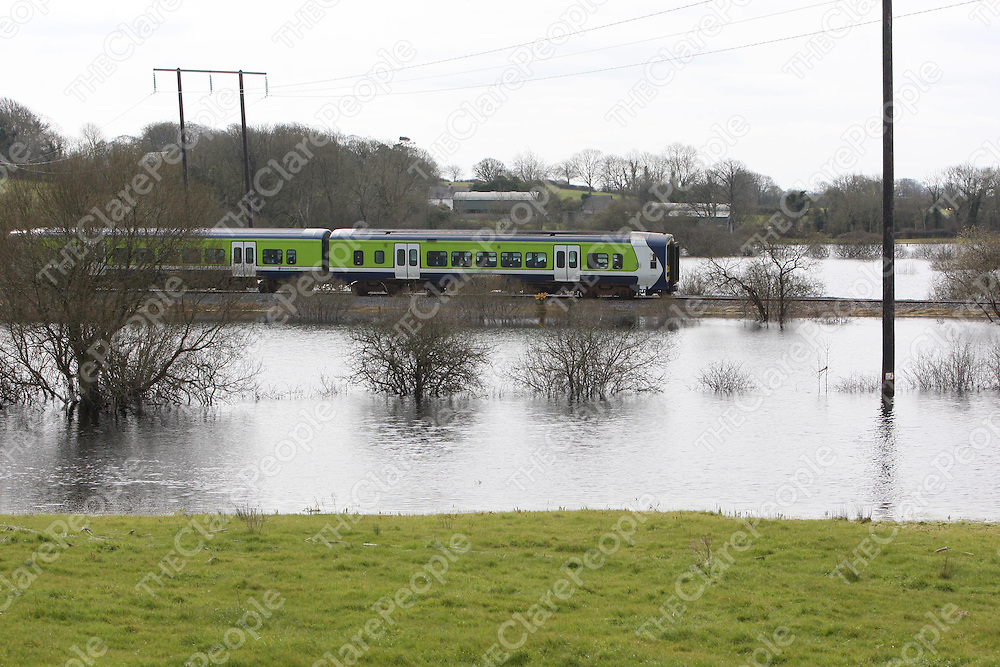 27/3/2008 The Limerick to Ennis commuter train re commenced its schedule this Thursday after the line had been closed for weeks due to flooding.<br />Picture: Liam Burke/Press 22