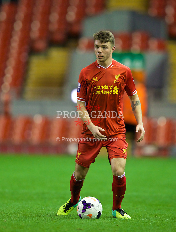 LIVERPOOL, ENGLAND - Friday, March 21, 2014: Liverpool's Joe Maguire in action against Newcastle United during the Under 21 FA Premier League match at Anfield. (Pic by David Rawcliffe/Propaganda)