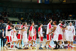 Players after Euroleague basketball match in 6th Round of Group B between KK Cedevita Zagreb and Olympiacos Piraeus, on November 19, 2015, in Drazen Petrovic basketball hall, Zagreb, Croatia.