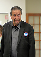 Garden City, New York, USA. April 17, 2016. JON BAUMAN, 'BOWZER', 69, singer in the band and TV show Sha Na Na, drops by Canvass Kickoff for Democratic presidential primary candidate Hillary Clinton at the Nassau County Democratic Office. He autographed photos of himself as Bowzer for the volunteers and spoke about why it's important to GOTV, Get Out The Vote for Hillary Clinton. Bauman is an activist in electoral politics and public policy activist and co-founded Senior Votes Count, which focuses on senior issues.