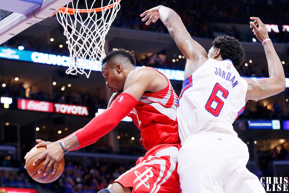 14 May 2015: Houston Rockets center Dwight Howard (12) grabs a rebound over Los Angeles Clippers center DeAndre Jordan (6) during the Houston Rockets 119-107 victory over the Los Angeles Clippers, in game 6 of the Western Conference semifinals, at the Staples Center, Los Angeles, California, USA.