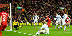 21.02.2013, Anfield, Liverpool, ENG, UEFA Europa League, FC Liverpool vs Zenit St. Petersburg, im Bild Liverpool's Joe Allen scores the second goal against FC Zenit St Petersburg during UEFA Europa League match between Liverpool FC and Zenit St. Petersburg at Anfield, Liverpool, Great Britain on 2013/02/21. EXPA Pictures © 2013, PhotoCredit: EXPA/ Propagandaphoto/ Vegard Grott..***** ATTENTION - OUT OF ENG, GBR, UK *****