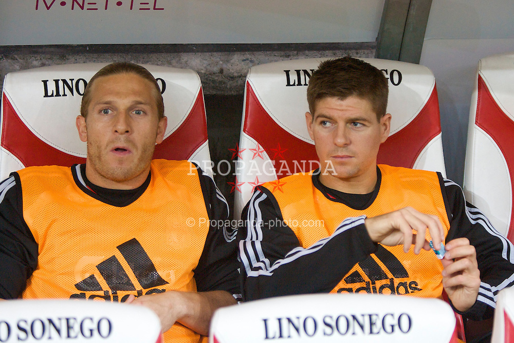 LIEGE, BELGIUM - Wednesday, August 13, 2008: Liverpool's substitutes captain Steven Gerrard MBE and Andriy Voronin  before the UEFA Champions League 3rd Qualifying Round match against Royal Standard de Liege at the Stade Maurice Dufrasne. (Photo by David Rawcliffe/Propaganda)