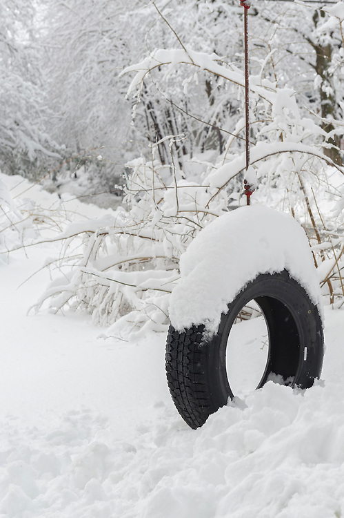 A tire swing covered with snow hangs in a yard after a snow storm with copy space.