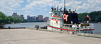 Tug boat on Connecticut River at waterfront, Hartford, CT