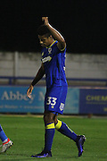 AFC Wimbledon striker Lyle Taylor (33) scores a goal 1-1 and celebrates during the EFL Trophy match between AFC Wimbledon and Plymouth Argyle at the Cherry Red Records Stadium, Kingston, England on 4 October 2016. Photo by Stuart Butcher.