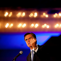 ORLANDO, FL -- September 22, 2011 -- Republican presidential candidate Gov. Mitt Romney speaks during the Florida P5 Faith and Freedom Coalition Kick-Off at the Rosen Centre Hotel in Orlando, Fla., on Thursday, September 22, 2011.  Nine Republican presidential candidates congregated for a Fox News / Google Debate.   (Chip Litherland for The New York Times)