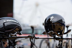 Helmets at the ready at the 4.4 km Prologue of the Lotto Belgium Tour 2016 on 6th September 2016 in Nieuwpoort, Belgium. (Photo by Sean Robinson/Velofocus).