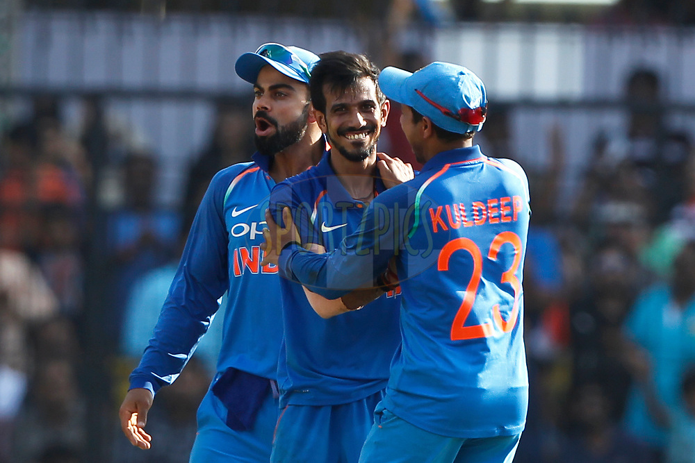 Yuzvendra Chahal of India celebrates the wicket of Glenn Maxwell of Australia during the 3rd One Day International between India and Australia held at the Holkar Stadium in Indore on the 24th  September 2017<br /> <br /> Photo by Deepak Malik / BCCI / SPORTZPICS
