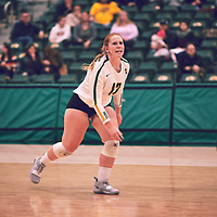 5th year libero, Taylor Ungar (13) of the Regina Cougars during the Women's Volleyball home game on Sat Jan 19 at Centre for Kinesiology, Health & Sport. Credit: Arthur Ward/Arthur Images