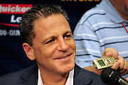 Oct. 27, 2010; Cleveland, OH, USA; Cleveland Cavaliers majority owner Dan Gilbert talks to the media prior to the game between the Cleveland Cavaliers and the Boston Celtics at Quicken Loans Arena. Mandatory Credit: Jason Miller-US PRESSWIRE