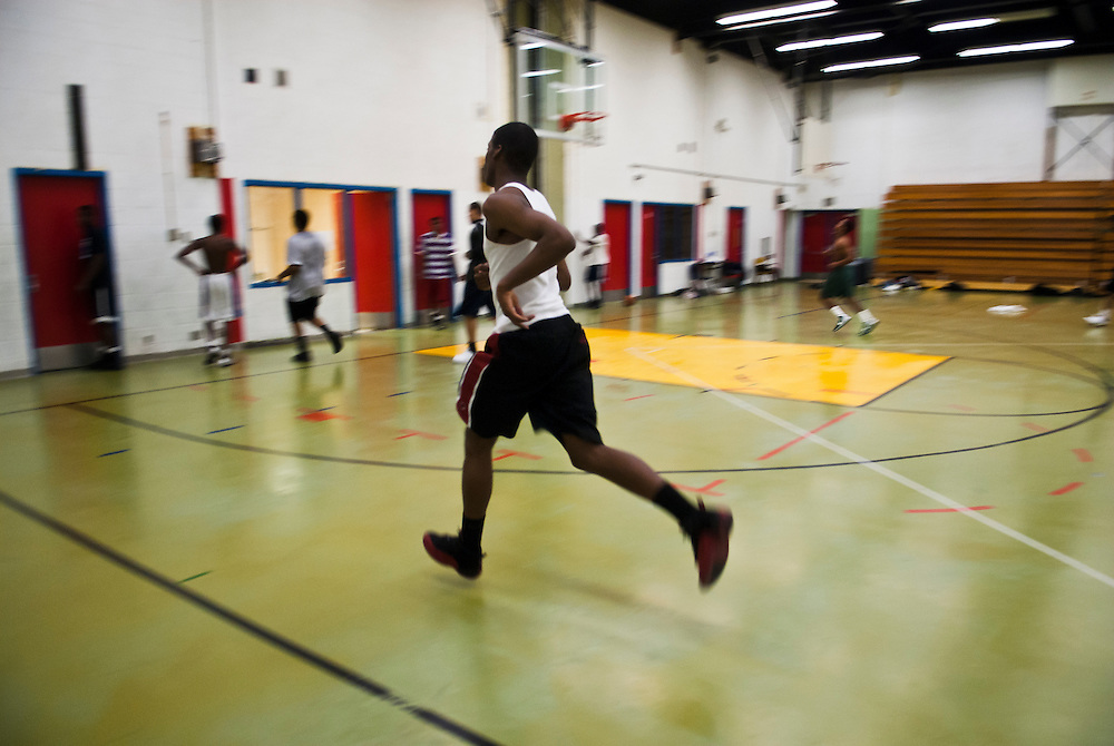 Lathan Goumas | The Flint Journal..January 4, 2012 - Karon Campbell runs during practice for the Mott Adult High School basketball team at the Zimmerman Center in Flint on Wednesday.